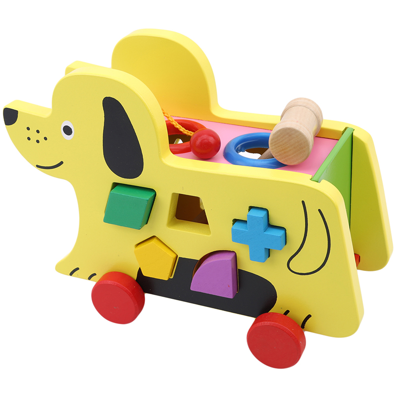 Sensory Awareness Board Toys Cartoon Dog Toy Wooden Balls Colored Geometry Family Pack Learning&Education Puzzle Toy