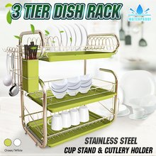 3 Tiers Drying Dish Rack Kitchen Storage Shelf Washing Holder Basket Plated Iron Knife Sink Dish Drainer Organizer Hanging Rack