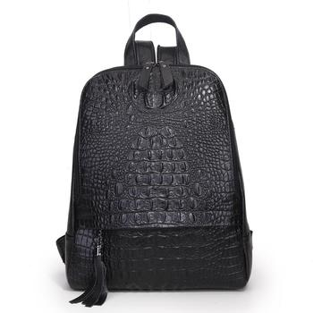 Male Travel Backpack Men Laptop Backpack bag Genuine Leather Crocodile Pattern Cowhide Pouch Fashion Rucksack School Bag Men