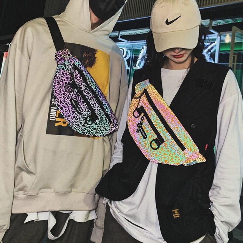 Reflective Chest Bag Men Women Geometric Patterns Crossbody Chest Packs Fashion Reflective Hip Waist Bag Belt Travel Fanny Packs