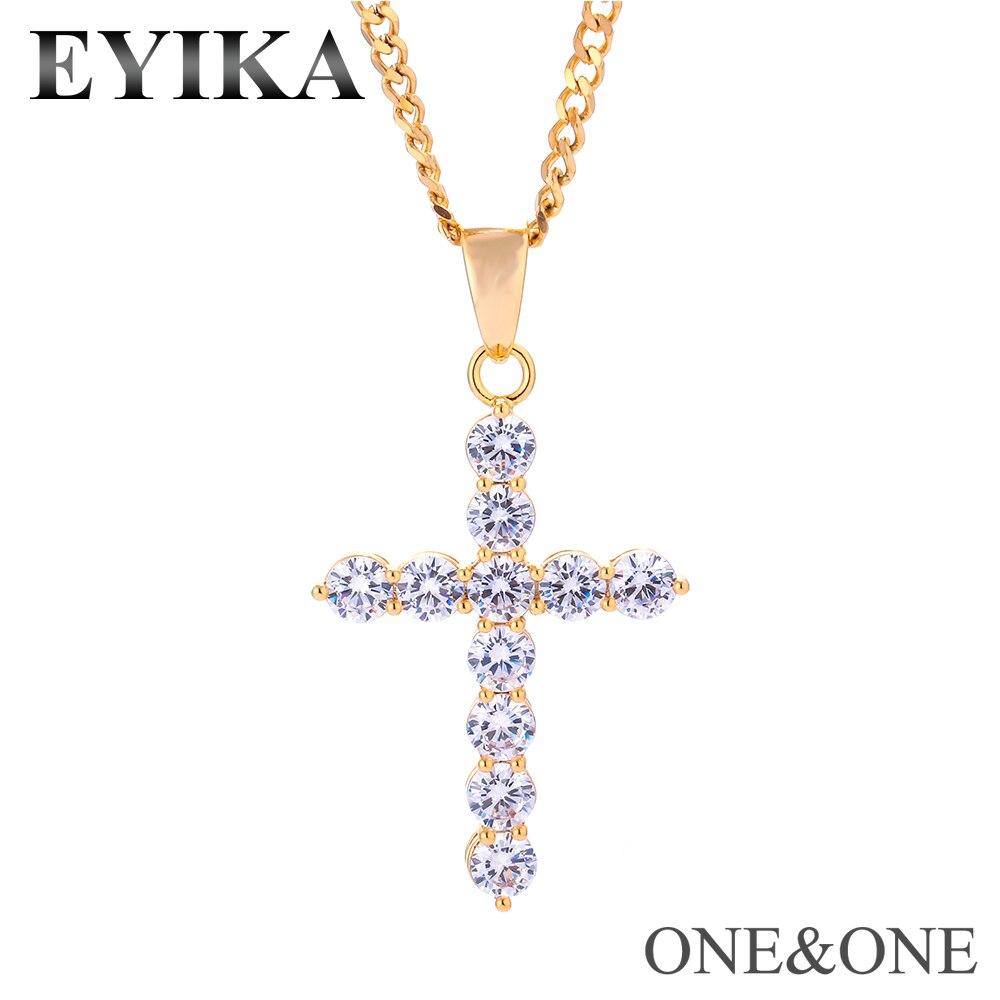 Hip Hop blanc AAA cubique zircone croix pendentif collier et 60cm chaîne cubaine mode hiphop bijoux cadeau pour hommes/femmes