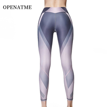OPENATME Tight High Waist Elastic Sexy Hip Leggings Sports Women Fitness Breathable Stitching Running Pants Yoga