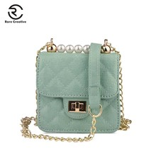 RARE CREATIVE Pearl Mini Bags PU Leather Women Messenger Bag Trendy Candy Color Small Flap Bag Plaid Ladies Crossbody Bag PS8021