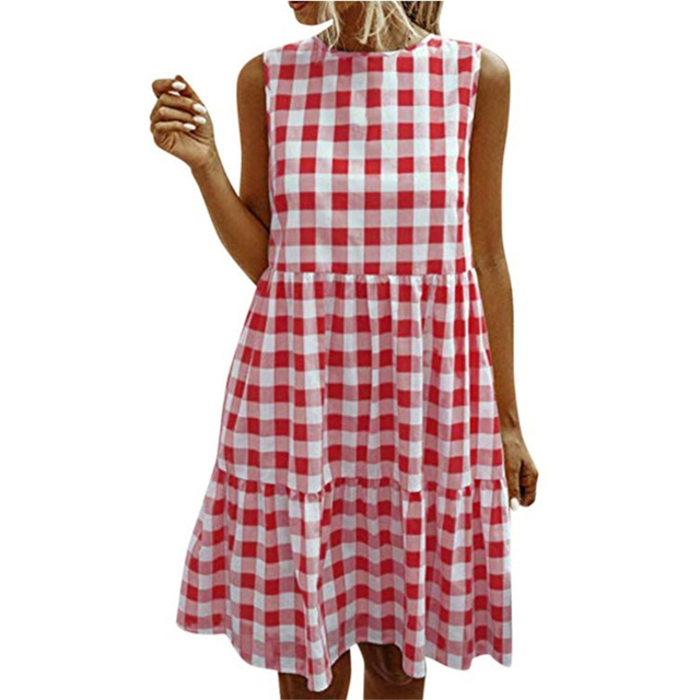 American Style Women Summer New Fashion Sleeveless Classical Simple Basic Vintage Plaid Patchwork Round Neck Casual Sweet Dress 5