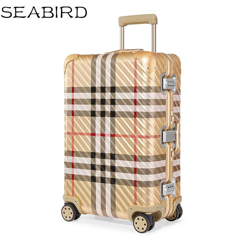SEABIRD 100% High Quality Aluminum-magnesium Luxury Business Boarding 20/25/29 Size Luggage Spinner Brand Travel Suitcase