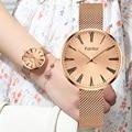 Роскошные женские часы Fantor  Лидирующий бренд  розовое золото  наручные часы  женские элегантные водонепроницаемые часы с сетчатым ремешком ...