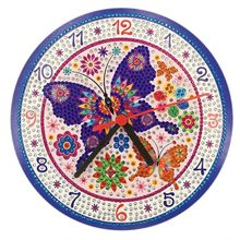 Purple Butterfly DIY Clock Diamond Painting Kits , Wall Decor with Colorful Diamonds ,Kids Arts and Crafts Kit Includes Me