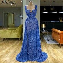 2020 Blau Lange Glitter Cocktail Kleid Meerjungfrau Dubai Sexy Prom Kleid Arabisch Abendkleid Cocktailkleid Abendkleider Nach
