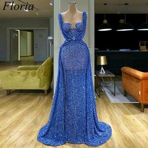 Image 1 - 2020 Blau Lange Glitter Cocktail Kleid Meerjungfrau Dubai Sexy Prom Kleid Arabisch Abendkleid Cocktailkleid Abendkleider Nach