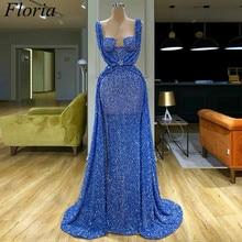 2020 azul longo glitter cocktail vestido sereia dubai sexy baile de formatura árabe vestido de noite cocktailkleider personalizado