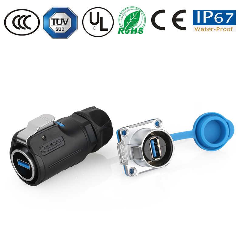 עמיד למים IP67 מחבר USB3.0 להתחבר התעופה עמיד למים שקע מחבר M24 עם כיסוי צלחת התקנה שקע