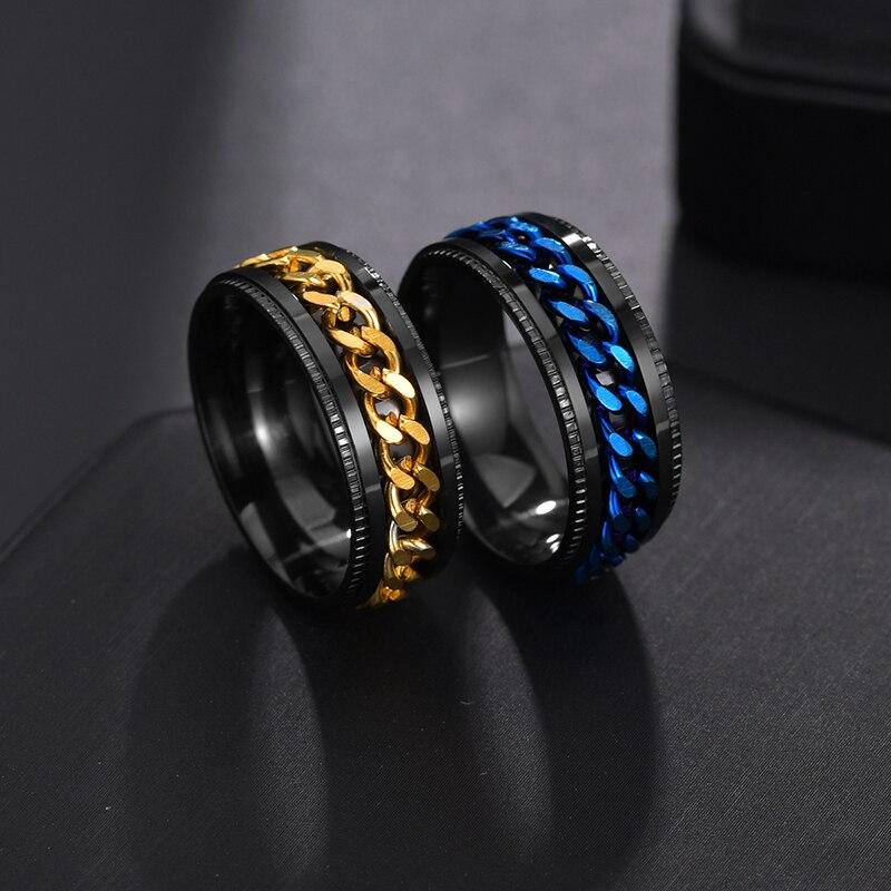 [В наличии] BinQingZi Нержавеющаясталь вращающийся Для мужчин кольцо Высокое качество прядильная цепь панк Для женщин Для мужчин ювелирные изд...