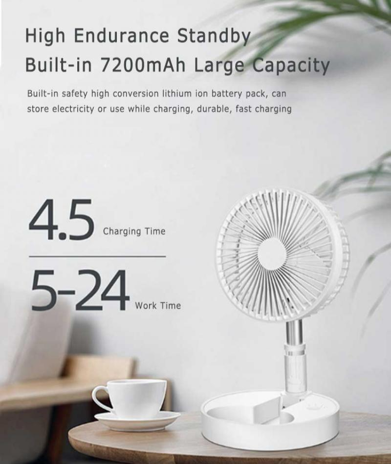 Folding Telescopic Mini Fan Mini USB Rechargeable Portable Dormitory Bed Office Desktop Remote Control High Wind Electric Fan