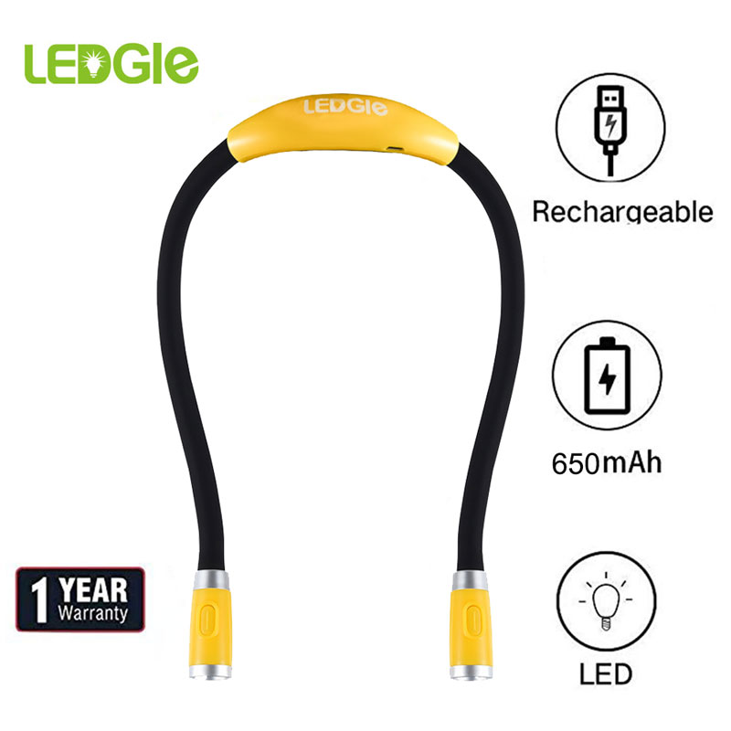 USB Rechargeable Reading Light Free Hug Lantern High Quality Neck Book Lamp Neck Lanterns Handsfree Bright Lights Battery Lamps