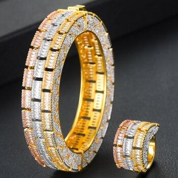 missvikki New Luxury Big Bangle Ring 2 PCS Full Cubic Zirconia Noble for Women Party Bridal Wedding Jewelry High Quality 2020