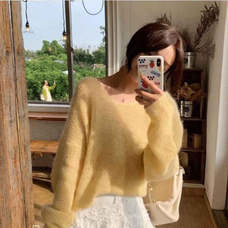 Herbst Frauen Gestrickte Pullover Einfarbig Mohair Pullover V Neck Süße Lose Lange-sleeve Strickwaren Pullover jumper pull femme tops
