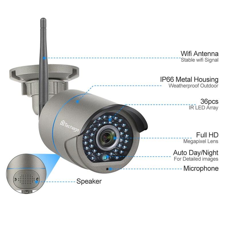 Techage 8CH H.265 Wifi system kamer NVR dwukierunkowy dźwięk bezprzewodowy 4/6/8 Pcs 2MP kamera ip cctv HD P2P zestaw do nadzorowania wideo