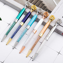 12pcs/set Crown Ball-point Pen Metal Crown Pen Wholesale Crystal Diamond Pen Wedding Gift Party Gift Business Souvenir Girl 100pcs set dhl shipping ball pen metal ball point pen advertising gift business gift ball pen oil ink business gift items
