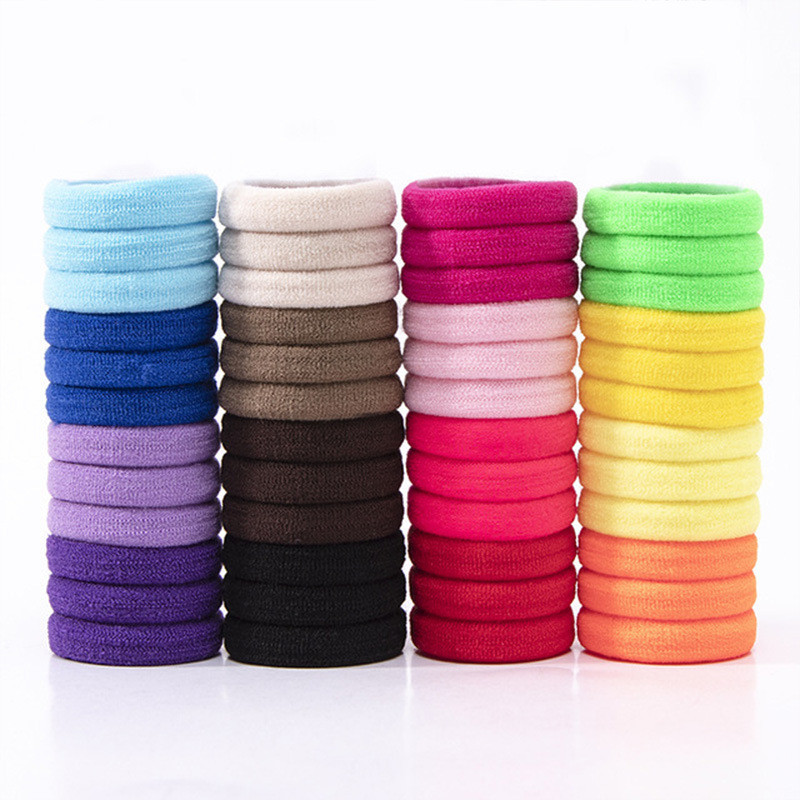 50Pcs Women Girls High Elasticity 3cm Medium Thick Rolled Towel Hair Rope Candy Solid Color Rubber Band Ring Ponytail Holder