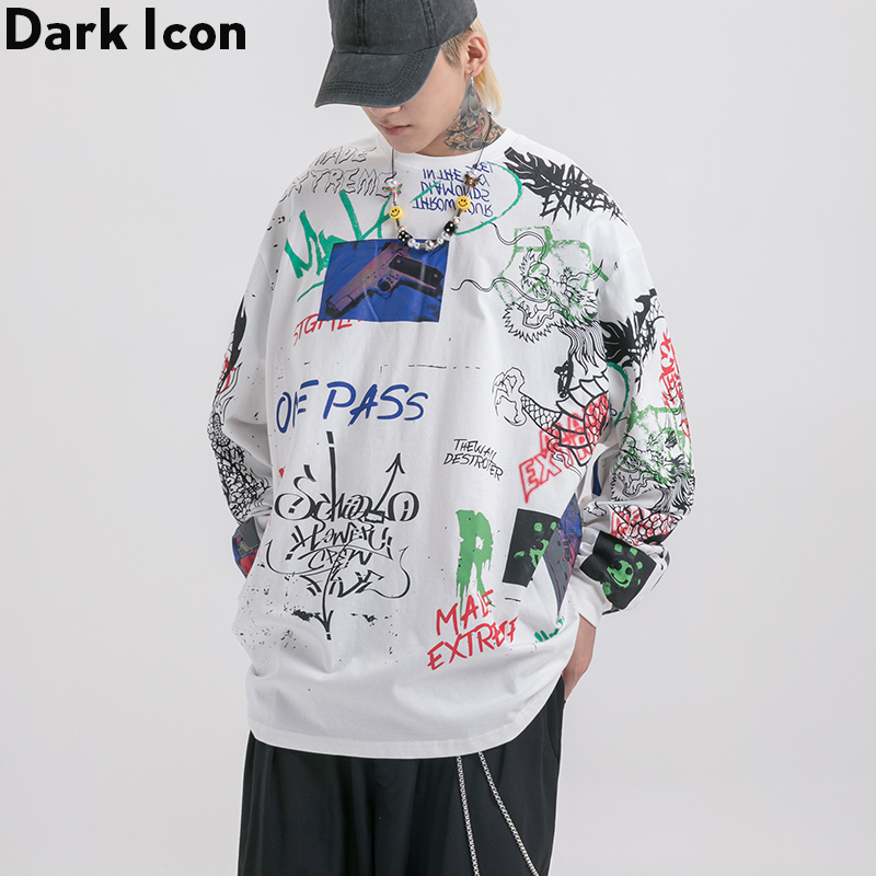 Dark Icon Graffiti Printed Men's T-shirt Long Sleeve Crew Neck Hipster Tshirts Men Loose Tee Shirts Man