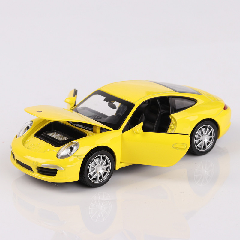 14cm For Porsche 911 1:32 Scale Car Model Diecast Super Racing Alloy Pull Back Car Speed Wheels Open Door Children's Toy Model