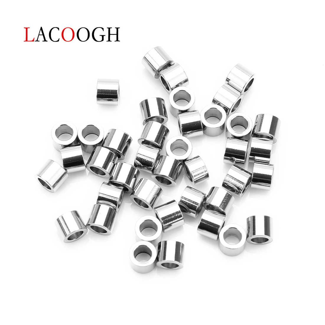 20 Pcs/lot Stainless Steel Tabung Pendek Pengatur Jarak Manik-manik dengan 3.2 Mm 5.2 Mm Lubang Besar untuk DIY Eropa Membuat Perhiasan aksesoris Supplier