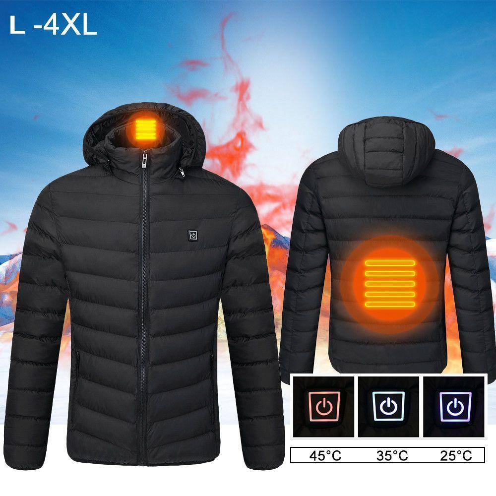 USB manteau chauffant électrique gilet chauffé à capuche veste fermeture éclair température Ajustable chaleur hiver 2018 ski cadeau batterie électrique