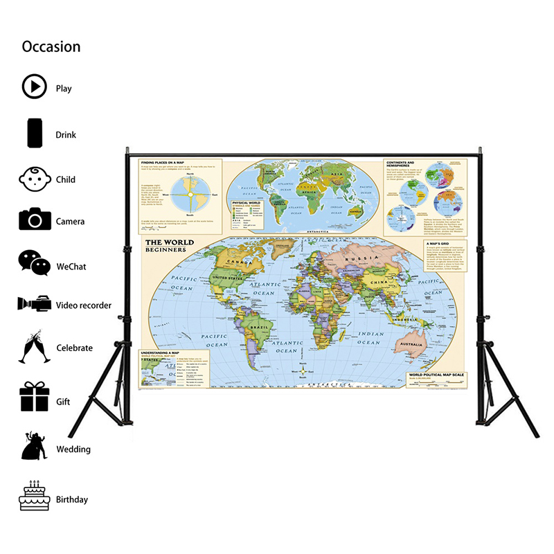 Physical World Map 150x100cm Non-woven Foldable Map With Detailed Label Without National Flag For Beginner