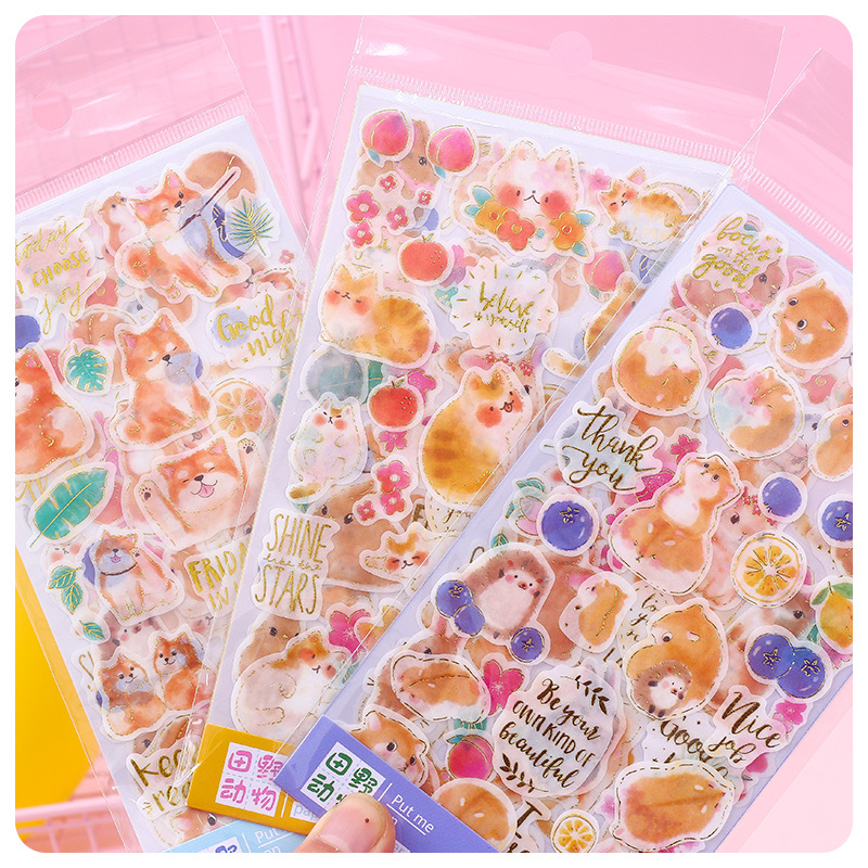4 Pcs/pack Field Animals Bullet Journal Cartoon Decorative Stationery Stickers Scrapbooking DIY Diary Album Stick Label