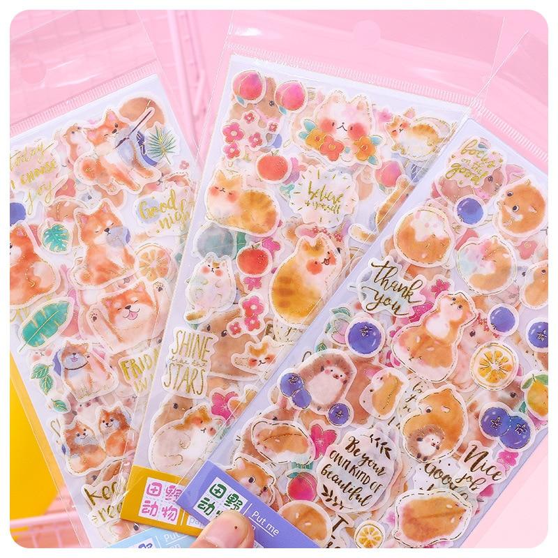 4 Pcs/pack Field Animals Bullet Journal Cartoon Decorative Stationery Stickers Scrapbooking DIY Diary Album Stick Label