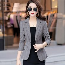 Women blazers plus size Female 2019 Runway Jacket Office Lady Suits Button Coat Vintage Plaid Slim Blazers For Women Formal 0282(China)