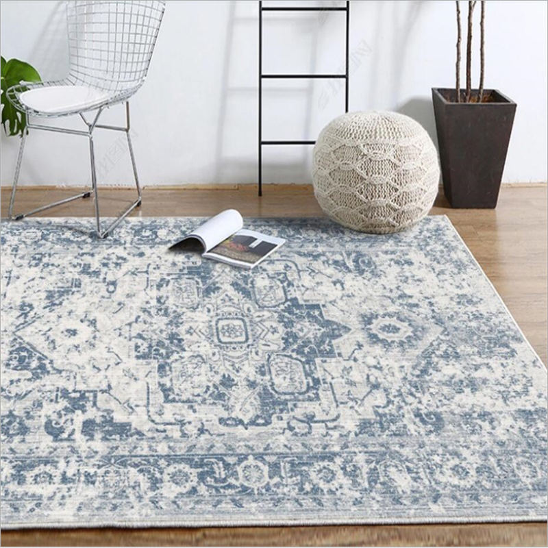 Carpets For Living Room European Classical Blue Abstract Pattern Carpet Living Room Table Accessories Area Rug For Bedroom