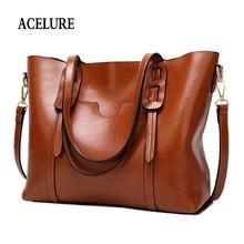 ACELURE Vintage Women PU Leather Shoulder Bag Female Large Tote Handbag Business Women Messenger Crossbody Bag For Women bolsas