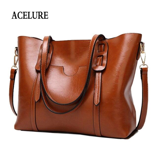 ACELURE Vintage sac à bandoulière en cuir synthétique polyuréthane pour femmes femme grand fourre tout sac à main affaires femmes messager sac à bandoulière pour femmes bolsas