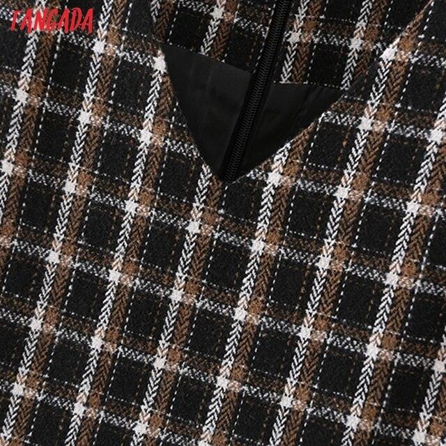Tangada 2021 Autumn Winter Fashion Women Plaid Woolen Dress Sleeveless Office Ladies Mini Dress 2M203 3