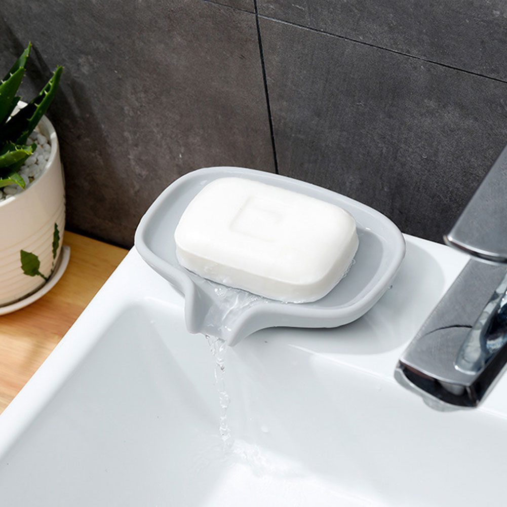 Soap Dish Non-slip Draining Case Silicone Holder Bathroom Toilet Soapbox Storage