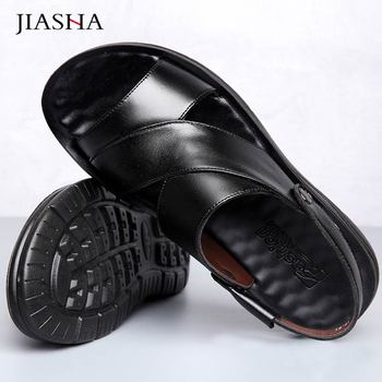 Plus Size Shoes Men Sandals Summer Outdoor Flats Comfortable Genuine Leather Man Beach