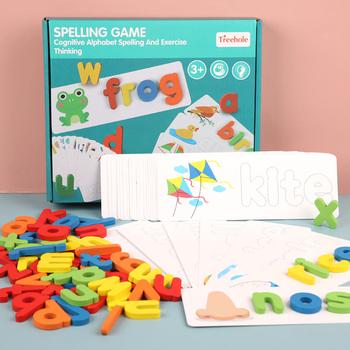 Drewniany alfabet list karty do nauki zestaw słowo pisownia praktyka gra zabawka angielskie litery pisownia karta słowo zabawki tanie i dobre opinie MOONBIFFY CN (pochodzenie)