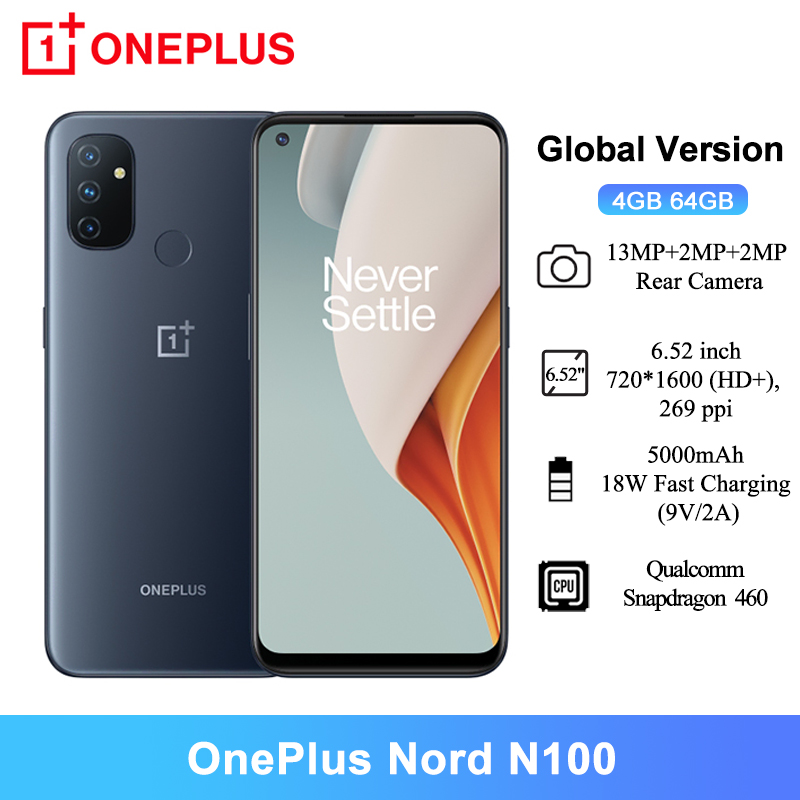 Global Version OnePlus Nord N100 Smartphones 4GB 64GB 6.52'' Snapdragon 460 90Hz 13MP Triple Cams 5000mAh Mobile Phones