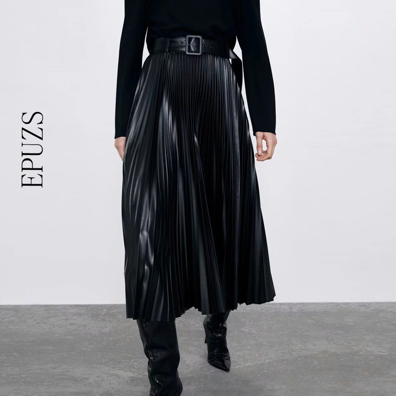 Winter High Waist PU Leather Skirts Womens Pleated Skirt 2019 Casual Bow Chic Office Long SkirtStreetwear Ladies Black Skirt