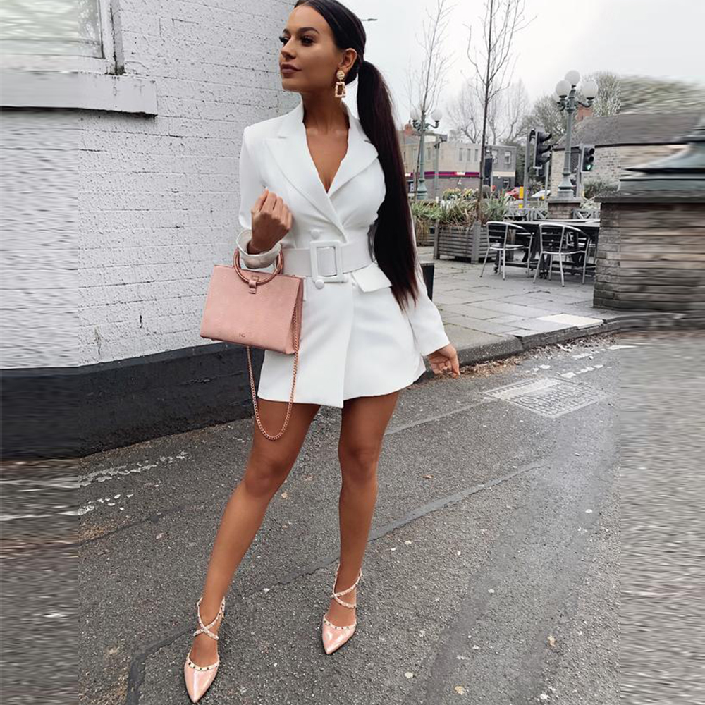 New Double Breasted Long Blazer Women Casual Button Long Sleeve Elegant Slim Solid Sashes Coats Autumn Winter Fashion Streetwear