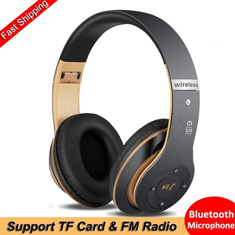 6S sans fil Bluetooth 4.2 Casque pliable Casque Audio Hifi stéréo basse Casque avec Microphone prise en charge TF carte FM Radio