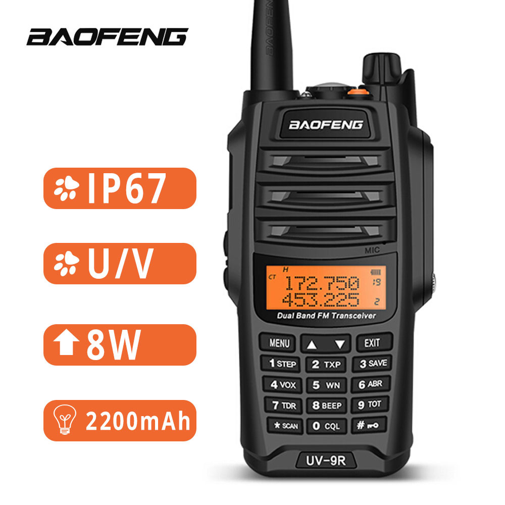 Baofeng UV-9R Waterproof Walkie Talkie IP67 8W Two Way Radio Station UHF VHF BF-A58 Outdoor Walkie-talkie