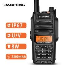 Baofeng Walkie Talkie UV 9R, resistente al agua, IP67, 8W, estación de Radio bidireccional, UHF, VHF, BF A58, para exteriores
