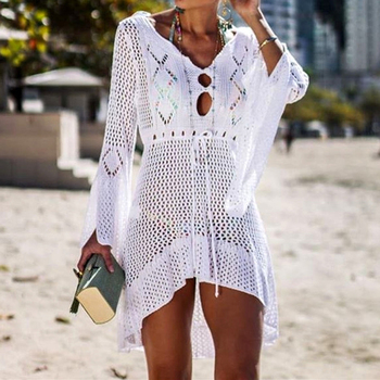 Loozykit 2019 Women Crochet Knitted Cover Up Dress Beach Tunic Long Pareos Bikini Cover Bathing Suits Beachwears Robe Plage 14