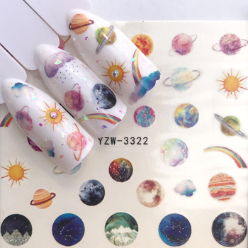 1 Sheet Water Nail Stickers Mysterious Starry Series Designs Transfer Sliders For Nail Watermark Decals DIY Manicure