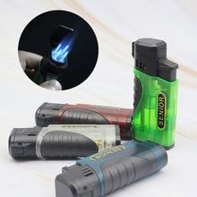 Four Flame Nozzle Jet Gas Lighter Torch Turbo Blue Flame Straight Fire Lighter Butane Spray Gun 1300C Cigar Cigarette Lighters стоимость