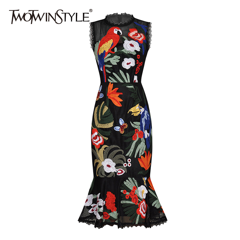 TWOTWINSTYLE Elegant Embroidery Women Dress O Neck Sleeveless High Waist Ruffles Hollow Out Hit Color Dresses For Female Fashion