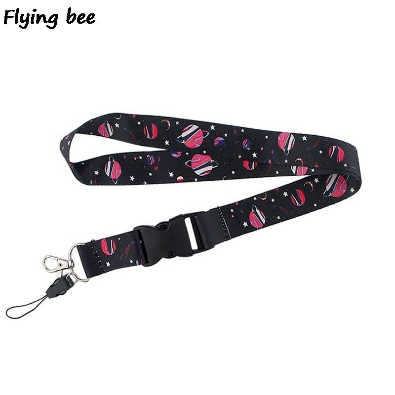 Flyingbee Black Star Keychain Creative Phone Lanyard Women Fashion Strap Neck Lanyards For ID Card Phone Keys X0522