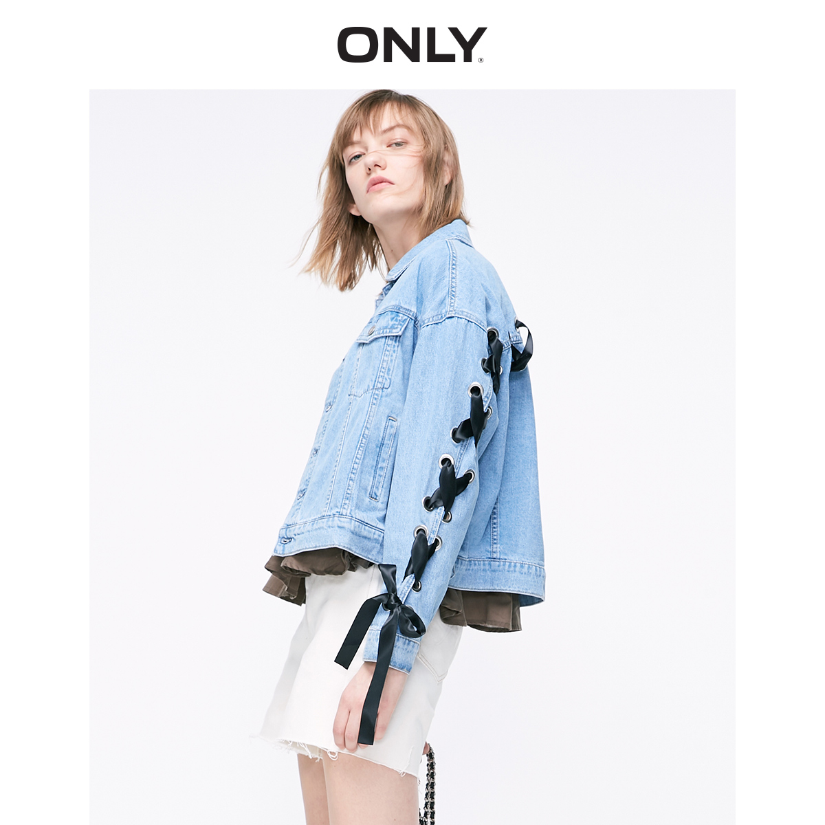 ONLY Women's Loose Fit Lace-up Denim Jacket | 119154514